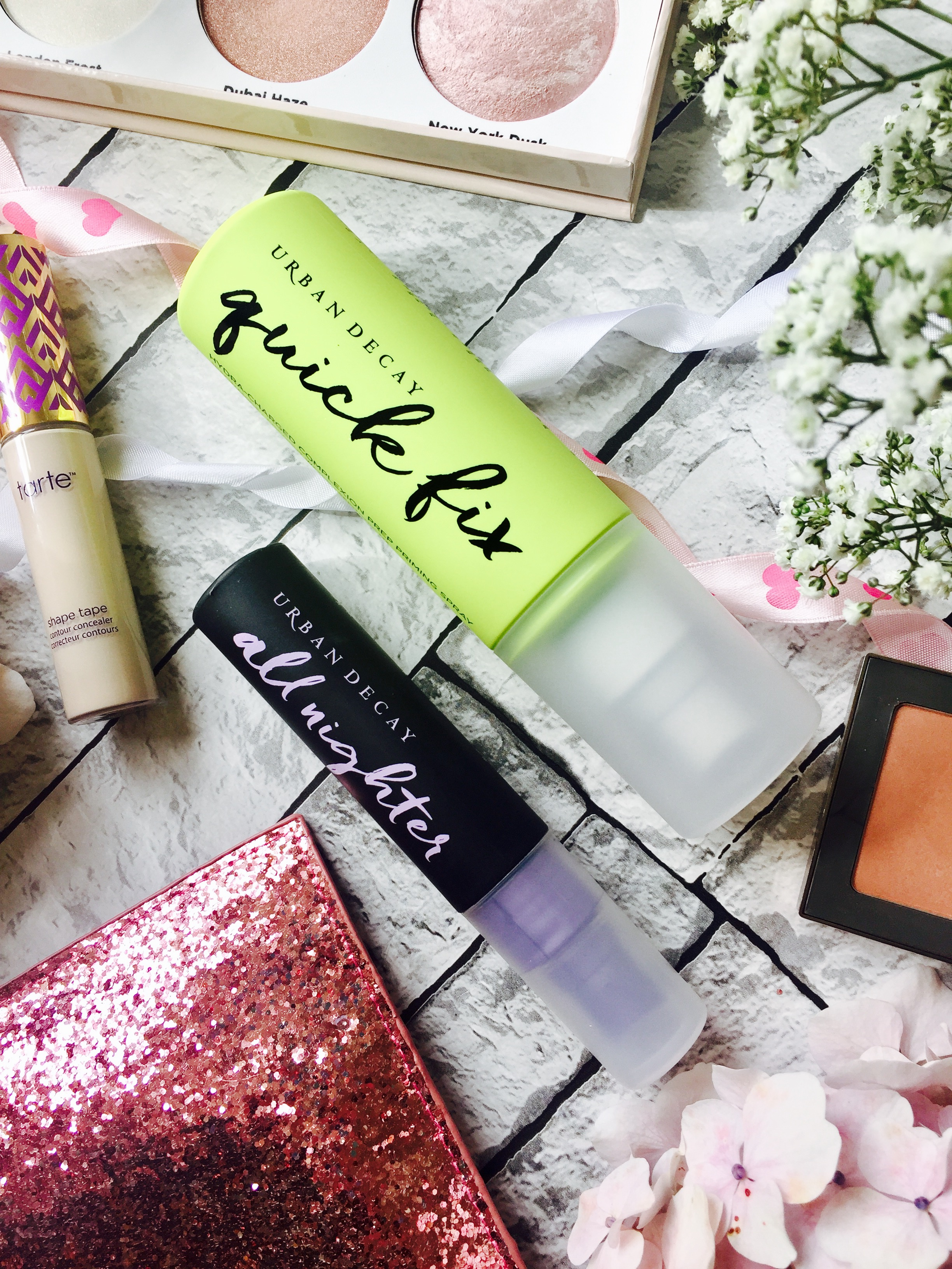 August favourites 2017 Urban Decay all Nighter setting spray prep and Priming spray Senssē facial cleanser ahb highlight and Strobe kit Tarte Shape Tape afterglow blush