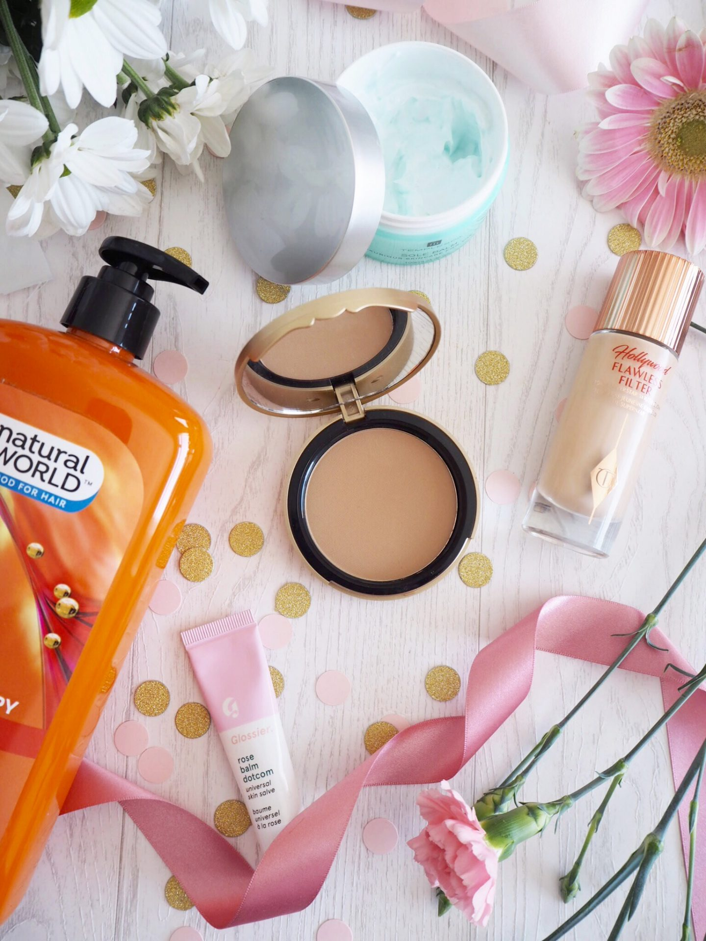 Beauty Favourites skincare makeup temple Spa too faced bronzer shampoo conditioner glossier balm dot com