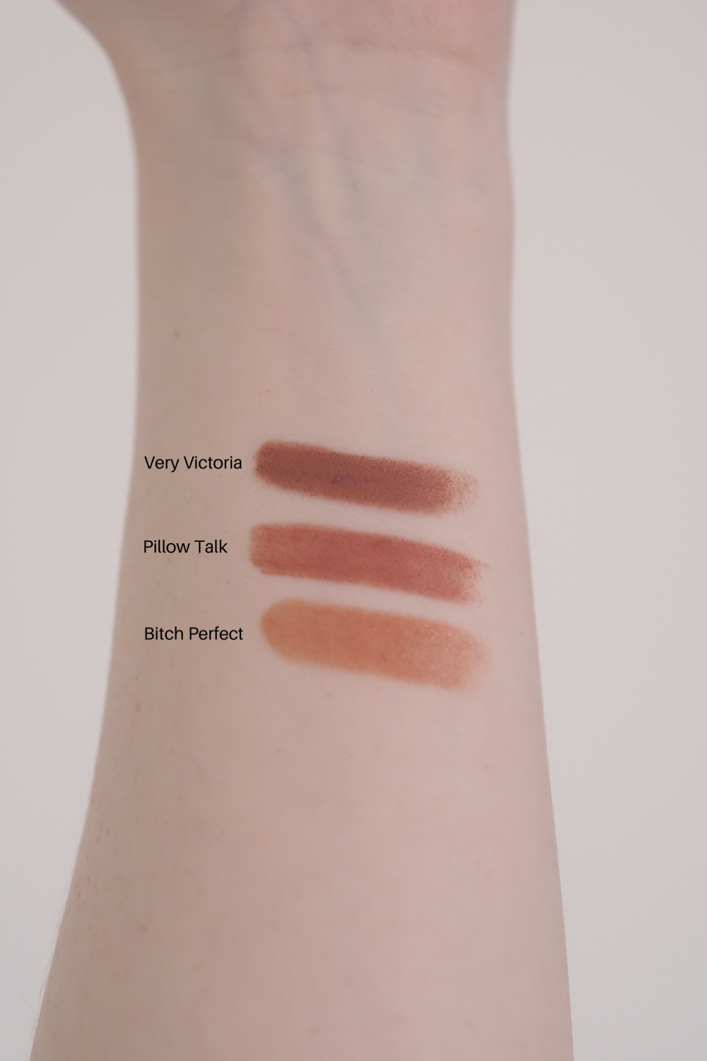 Favourite Everyday Lipsticks for Pale Skin Charlotte Tilbury Very Victoria Pillow Talk Bitch Perfect swatches
